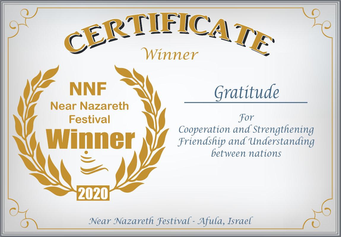 NNF Near Nazareth Festival Winner Certificate